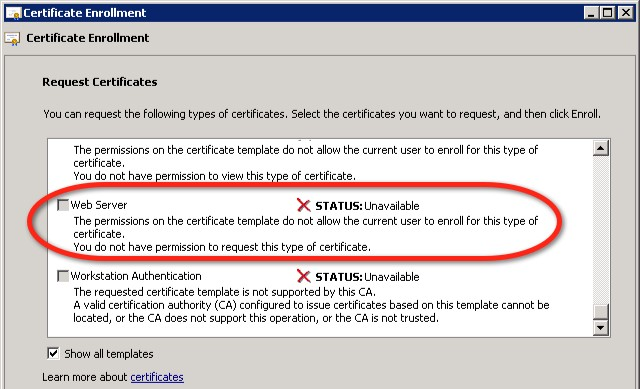 Certificates vmwiki if this is the case you will need to use certificate template console certtmplc at the microsoft ca to change the permissions on the web server yelopaper Choice Image