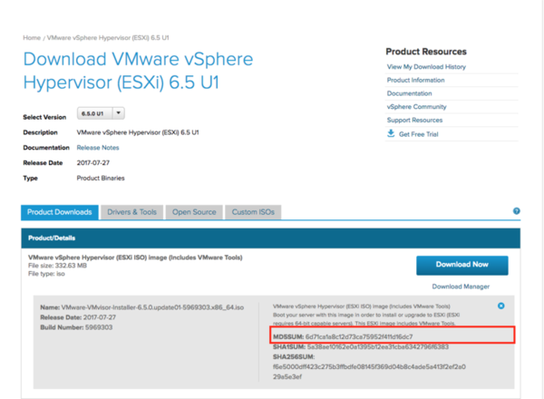 alt VMware's Corporate download page with md5sum value